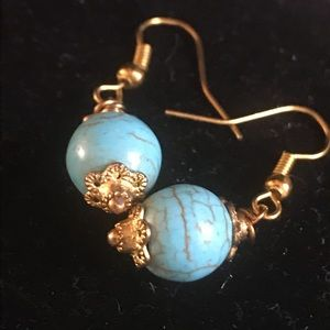 Vintage turquoise ball earrings